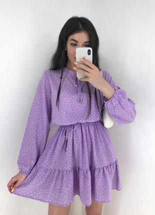Женское легкое короткое платье длинный рукав солнцеклеш