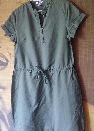 Легкое платье миди / 55%лен 45%хлопок/ сафари на кулиске up fashion / м