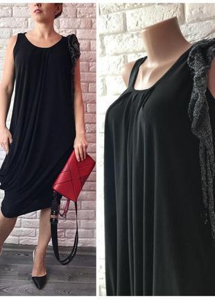 """Вечернее чёрное платье 👗 с декором """"cindora"""""""
