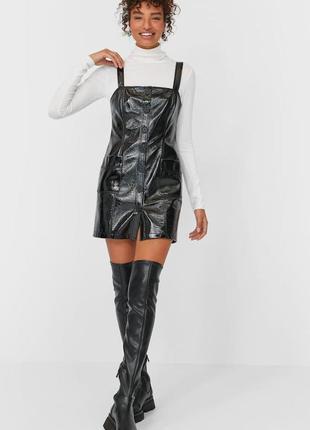 Сарафан кожаный кожзам короткое платье