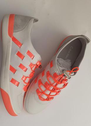 Calvin klein кожаные кроссовки, белые, яркие, модные, оригинал