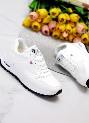 Комфортные повседневные молодежные белые женские зимние кроссовки  к. 11624