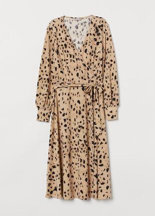 H&m платье бежевое миди чёрное с поясом леопардовый принт большое батальное батал