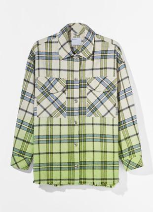 Стильная теплая рубашка в клетку-оверсайз
