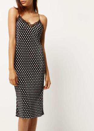 Плиссированное платье– комбинация в горохи миди длины /slip dress как zara h&m asos в идеале