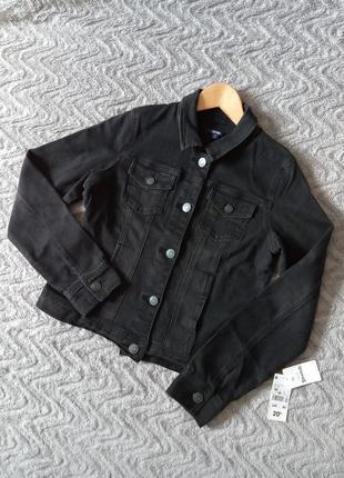 Короткая джинсовая куртка из темного денима от kiabi (франция), размер указан 40 (m)