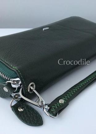 Большой кожаный кошелек 1283 темно-зеленый