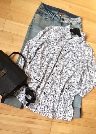 Легкая,натуральная рубашка в мелкий горошек