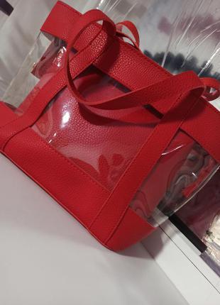 Красная сумка плотная эко кожа силиконовая прозрачная клатч трансформер