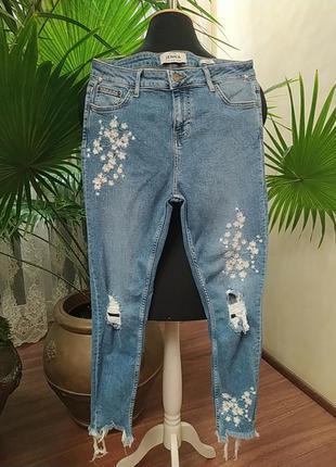 Зауженные джинсы с вышивкой, скинни, утяжка, 14 размер