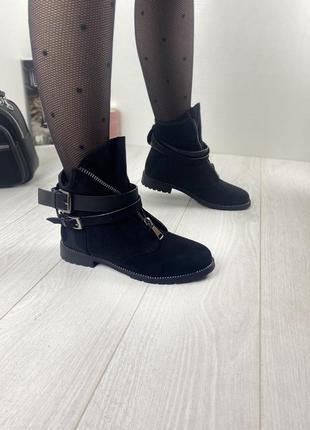 Ботинки женские деми черные замшевые на низком ходу плоской подошве из замши демисезонные a7025-4