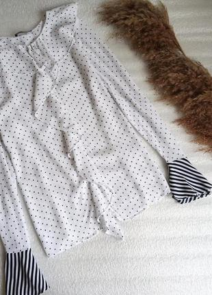 ✨неперевершена , натуральна , віскозна блуза в горошок ,із неймовірним рукавом ✨