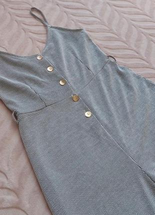 Комбинезон кюлоты в полоску, серый цвет
