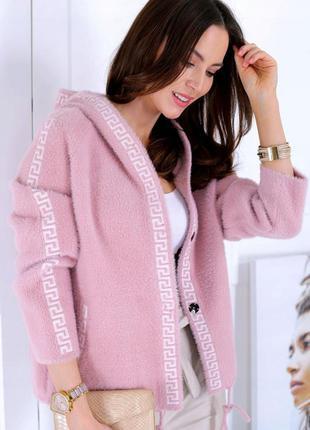 Куртка женская демисезонная вязаная кофта альпака полупальто