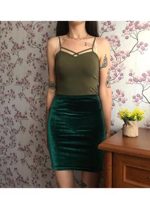 Изумрудная мини юбка размер s