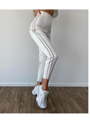 Атласные брюки со стразами лампасами meshki
