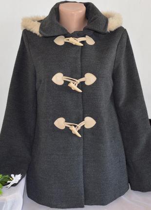 Брендовое демисезонное пальто полупальто трапеция дафлкот с меховым капюшоном atmosphere