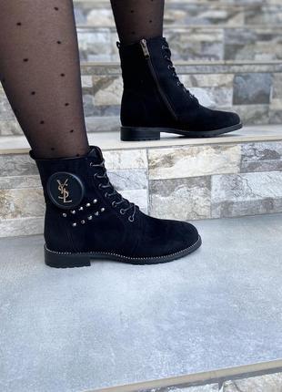 Ботинки женские деми черные замшевые на низком ходу плоской подошве из замши демисезонные a7025-6