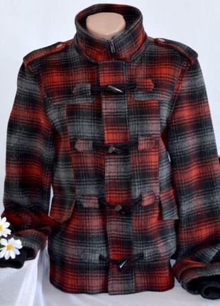 Брендовое демисезонное шерстяное пальто полупальто дафлкот в клетку cedarwood state