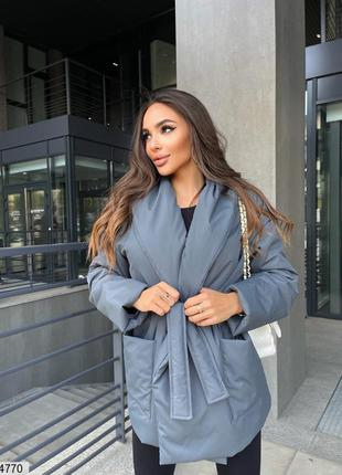 Куртка темно-серая для осени, размер 42-44, 46-48