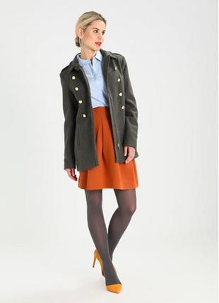 Брендовое пальто на молнии с карманами modstrom denmark шерсть цвет хаки этикетка