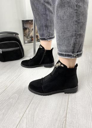 Ботинки женские деми черные замшевые на низком ходу плоской подошве из замши демисезонные a7025-8