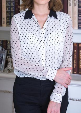 Блуза рубашка в горошек bershka