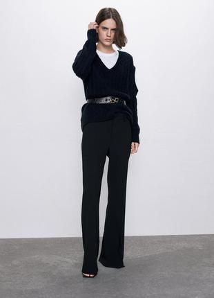 Стильные брюки в пол с легким клешем zara