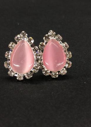 Клипсы с камнем кошачий глаз розового