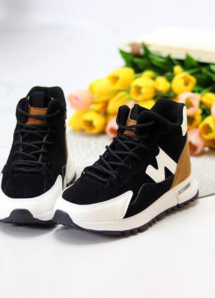 Миксовые повседневные черные женские спортивные зимние ботинки мультииколор  к. 11623