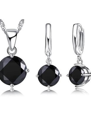 Набор серьги цепочка и подвеска серебро 925 черный камень цирконий / большая распродажа!