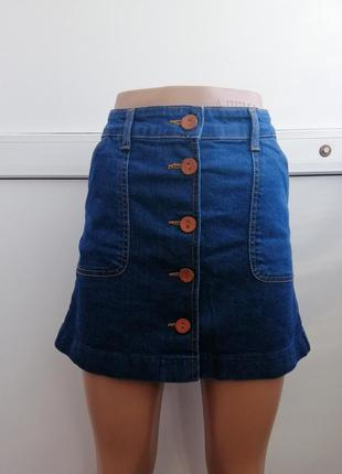 Юбка джинсовая короткая синяя мини