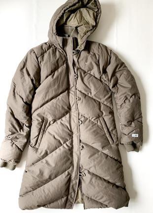 Зимнее пуховое пальто nike до колена. кокон пуховик. очень тёплое