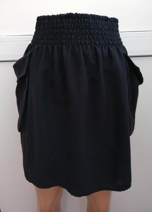 Юбка женская чёрная с карманами