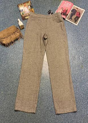 Шерстяные брюки штаны тёплые коричневые классические