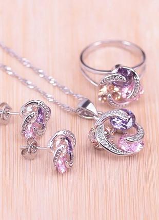 Комплект украшений женский цепочка с кулоном, серьги и кольцо код 2140