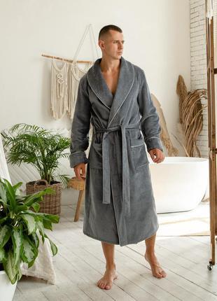 Велюровый мужской домашний халат, серый банный халат на запах