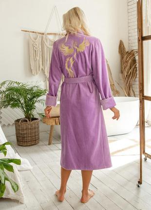 Именной велюровый халат с индивидуальной вышивкой на спине
