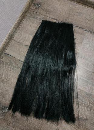 Черная широкая тресса трессы волосы на заколках