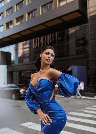 Элегантное вечернее корсетное платье-мини с объемными рукавами