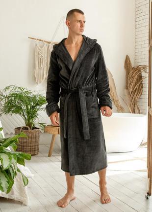 Велюровый мужской домашний халат, темно-серый банный халат на запах