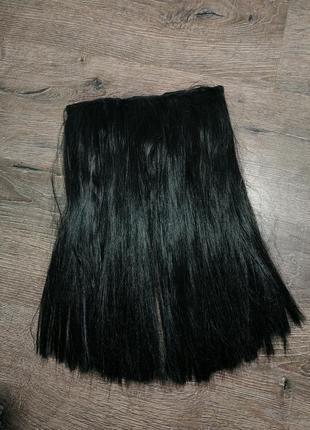 Черная тресса трессы волосы на заколках