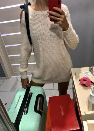 Платье свитер оверсайз туника на одно плечо