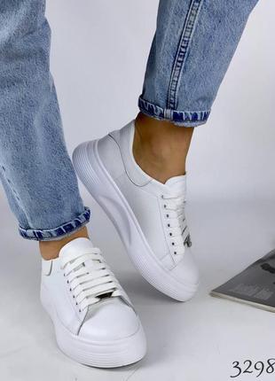 Женские кожаные белые кеды, кожаные кроссовки женские