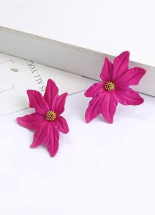 Матовые серьги малиновые цветы / большая распродажа!