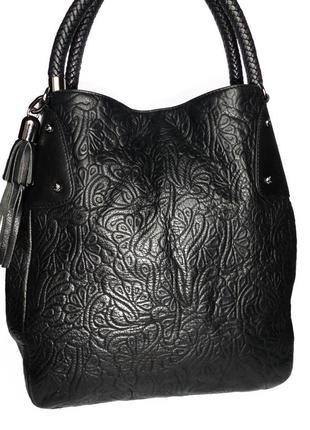 Кожаная сумка натуральная кожа tossi