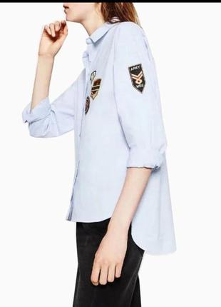 Стильная  рубашка с нашивками