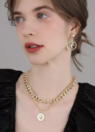 Двойная цепь чокер с медальоном тренд цепочка колье ожерелье