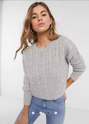 Базовый оверсайз свитер укороченного кроя в косы new look