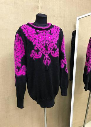 Удлиненный роскошный свитер с ангоры с узором и кисточками новый